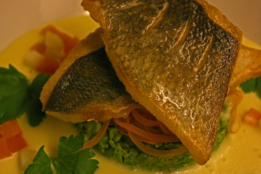 Sea bass served at the Annandale Arms